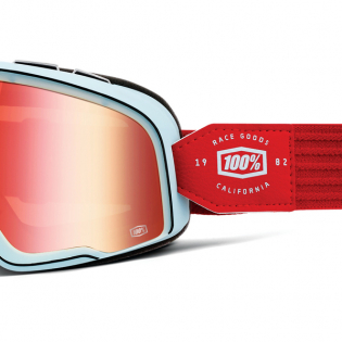 100% Barstow Classic Carlyle True Red Lens Goggles Image 3