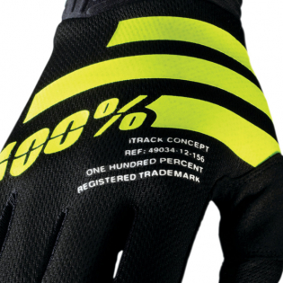 100% iTrack Black Fluo Yellow Motocross Gloves Image 4
