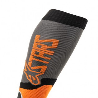 Alpinestars Plus-2 Kids Cool Grey Orange Fluo MX Socks Image 2
