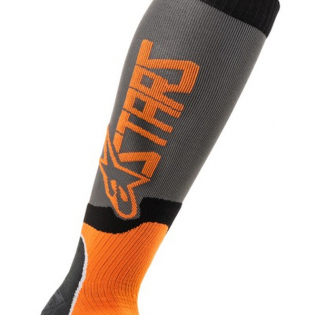 Alpinestars Plus-2 Kids Cool Grey Orange Fluo MX Socks Image 3