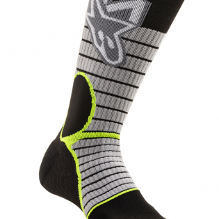 Alpinestars Pro Cool Grey Yellow Flou MX Socks Image 2
