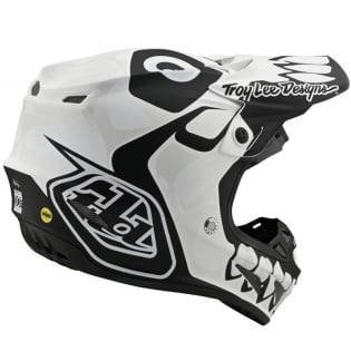 Troy Lee Designs SE4 Skully White Black Composite Helmet Image 2