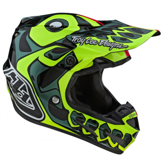 Troy Lee Designs SE4 Skully Pink Flo Yellow Composite Helmet Image 2