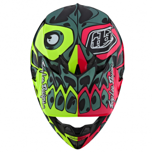 Troy Lee Designs SE4 Skully Pink Flo Yellow Composite Helmet Image 4