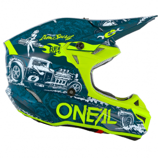 ONeal 5 Series Polycrylite HR Blue Neon Yellow Helmet Image 4