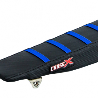 CrossX Stripe Yamaha Black Black Blue Ribbed Seat Cover Image 2