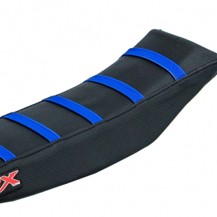 CrossX Stripe Yamaha Black Black Blue Ribbed Seat Cover Image 4