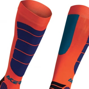 Acerbis Kids Impact Fluo Orange Blue Motocross Socks Image 2