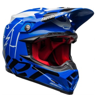 Bell Moto 9 Carbon Flex Fasthouse Day in the Dirt Blue White Gloss Helmet  Image 4