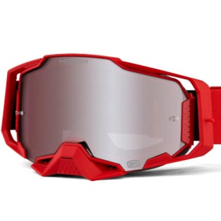 100% Armega Red HiPER Silver Mirror Lens Goggles Image 3