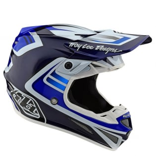 Troy Lee Designs SE4 Carbon Helmet - Spring Flash Blue White Image 3