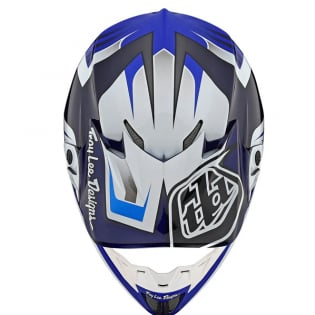 Troy Lee Designs SE4 Carbon Helmet - Spring Flash Blue White Image 4
