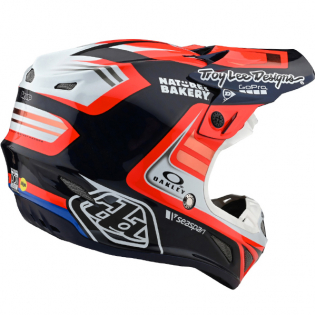 Troy Lee Designs SE4 Carbon Helmet - Flash Blue Red Image 2