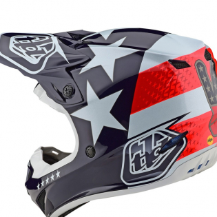 Troy Lee Designs SE4 Polyacrylite Helmet - Freedom Red White Image 3