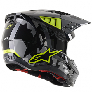 Alpinestars Supertech SM5 Rover Gloss Grey Yellow Camo Helmet Image 3
