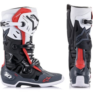 Alpinestars Tech 10 Supervented Black White Grey Red Boots Image 2