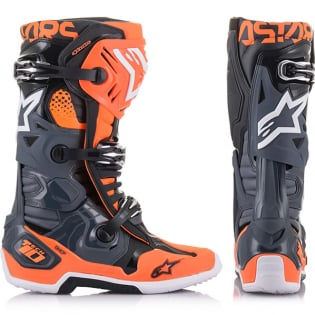 Alpinestars Tech 10 Cool Grey Orange Flou Boots Image 2