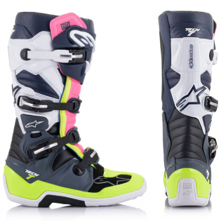Alpinestars Tech 7 Dark Grey Blue Pink Fluo Boots Image 2