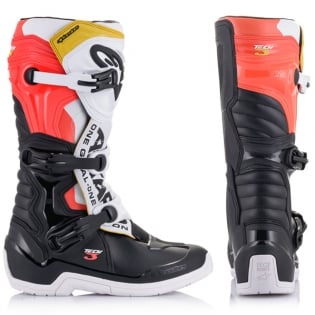 Alpinestars Tech 3 Boots - Black White Red Flou Yellow Image 2