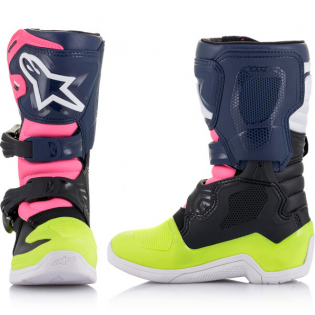 Alpinestars Kids Boots Tech 3S - Black Dark Blue Pink Flou Image 2