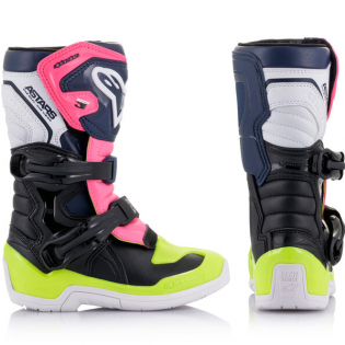 Alpinestars Kids Boots Tech 3S - Black Dark Blue Pink Flou Image 4