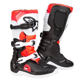 Alpinestars Youth Boots Tech 3S - Black White Flo Red Image 3