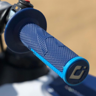 ODI EMIG Pro V2 Lock On Navy Blue Cyan Motocross Grips Image 2