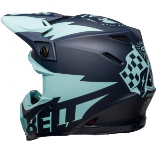 Bell Moto 9 Carbon Flex Breakaway Matte Navy Light Blue Helmet  Image 2
