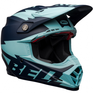 Bell Moto 9 Carbon Flex Breakaway Matte Navy Light Blue Helmet  Image 4