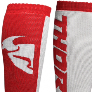 Thor Kids MX Long Red White Boot Socks Image 2