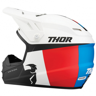 Thor Kids Sector Racer White Red Blue Helmet Image 2