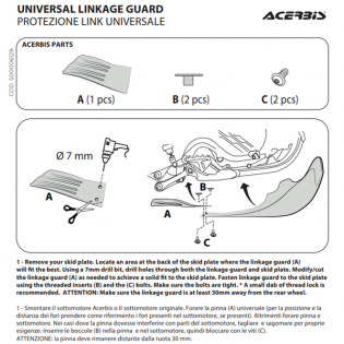 Acerbis Universal White Skid Plate Link Guard Image 4