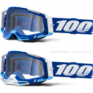100% Racecraft 2 Blue Clear Lens Goggles Image 3