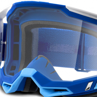 100% Racecraft 2 Blue Clear Lens Goggles Image 4