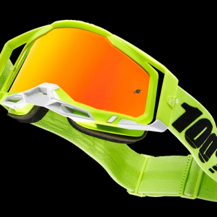 100% Racecraft 2 Yellow Red Mirror Lens Goggles Image 2