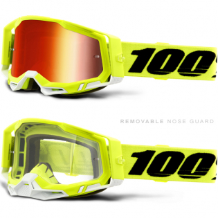 100% Racecraft 2 Yellow Red Mirror Lens Goggles Image 3
