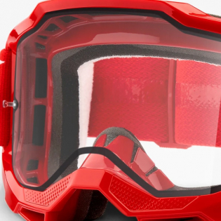 100% Accuri 2 Red Clear Lens Enduro Goggles Image 2