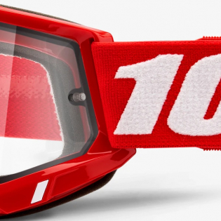 100% Accuri 2 Red Clear Lens Enduro Goggles Image 4