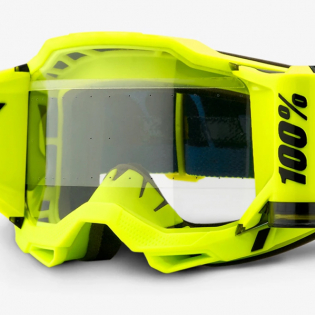 100% Accuri 2 Forecast Fluo Yellow Clear Lens Mud Goggles Image 4