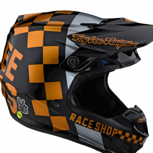Troy Lee Designs SE4 Checker Black Gold Polyacrylite Helmet Image 2
