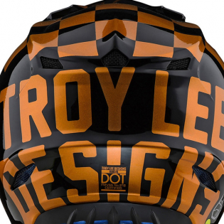 Troy Lee Designs SE4 Checker Black Gold Polyacrylite Helmet Image 3