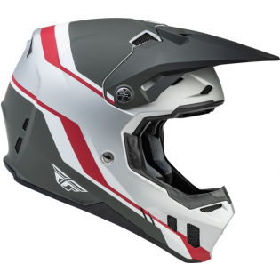 Fly Racing Formula CC Driver Silver Red White Helmet Image 3