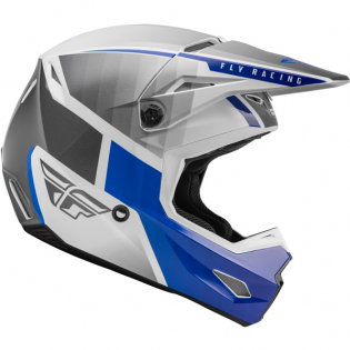 Fly Racing Youth Kinetic Drift Blue Charcoal White Helmet Image 3