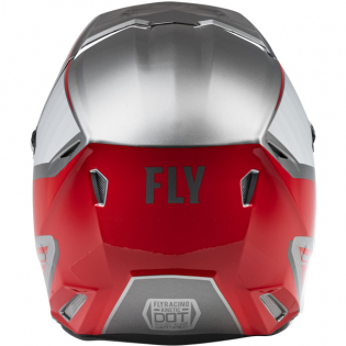 Fly Racing Youth Kinetic Drift Charcoal Lite Grey Red Helmet Image 2