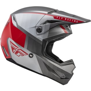Fly Racing Youth Kinetic Drift Charcoal Lite Grey Red Helmet Image 3