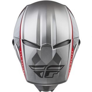 Fly Racing Youth Kinetic Drift Charcoal Lite Grey Red Helmet Image 4