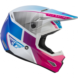 Fly Racing Youth Kinetic Drift Pink White Blue Helmet Image 3