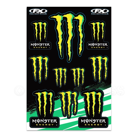 factory effex universal monster energy sticker sheet. Black Bedroom Furniture Sets. Home Design Ideas