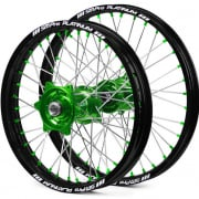SM Pro Platinum Motocross Wheel Set - Kawasaki Green Black Green