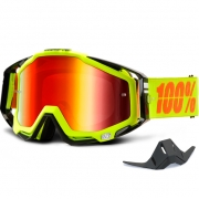100% Racecraft Goggles - Attack Neon Yellow Mirror Lens